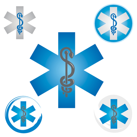 Illustration pour Set of Emergency Star Icons with Caduceus Blue Symbol - Health / Pharmacy - image libre de droit