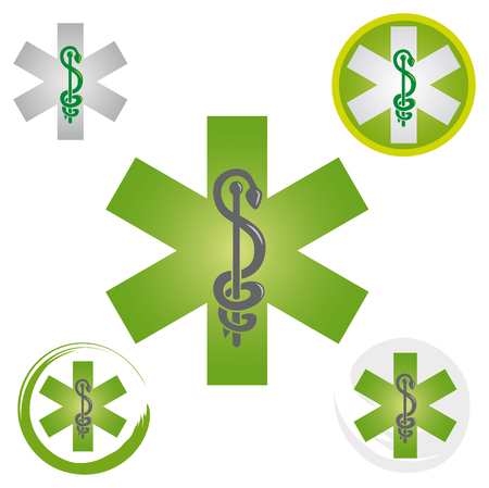 Illustration pour Set of Emergency Star Icons with Caduceus Green Symbol - Health / Pharmacy - image libre de droit