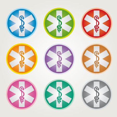 Illustration pour Set of 9 Emergency Star Icons with Caduceus Various Colors - Pharmaceutical Industry - image libre de droit