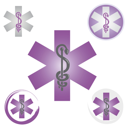 Illustration pour Set of Emergency Icons with Caduceus Symbol Purple - Health / Pharmacy - image libre de droit