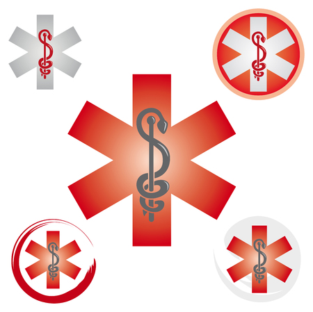 Illustration pour Set of Emergency Star Icons with Caduceus Red Symbol - Health / Pharmacy - image libre de droit