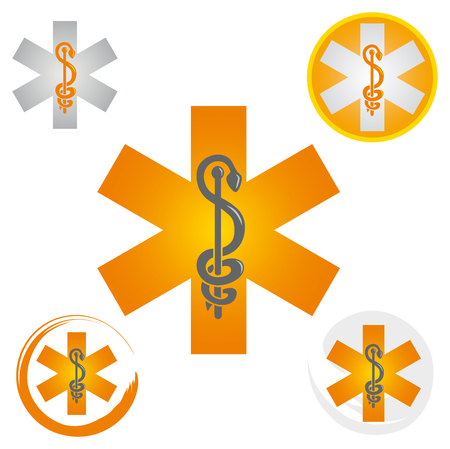 Illustration pour Set of Emergency Star Icons with Caduceus Yellow Symbol - Health / Pharmacy - image libre de droit
