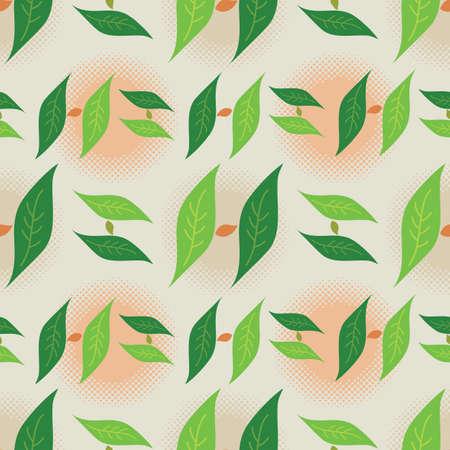 Illustration pour Foliage Leaf Seamless Pattern, Letter H Monogram in Green Colors - Vector - image libre de droit