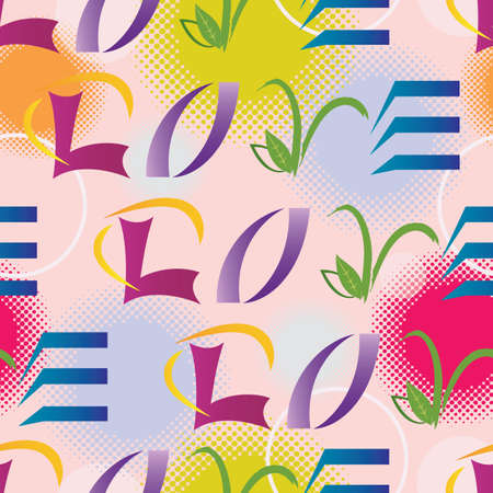 Illustration pour LOVE Letters Seamless Pattern - Multiple Colors - Vector - image libre de droit