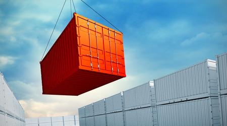 Foto de 3d rendered illustration of an industrial port with containers. Loading container - Imagen libre de derechos