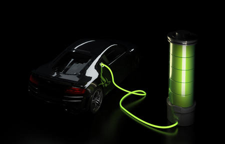 Photo pour 3d illustration of electric car connected to big battery. Concept of charging electrical automobile. - image libre de droit