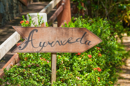 Photo pour A sign in the garden of Ayurveda in Sri Lanka - image libre de droit