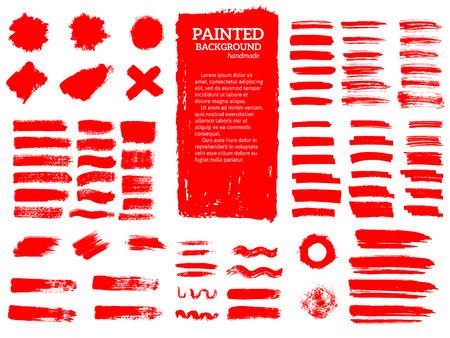 Ilustración de Painted grunge stripes set. Red labels, background, paint textur - Imagen libre de derechos