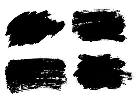 Ilustración de Painted grunge stripes set. Black labels, background, paint texture. Brush strokes vector. Handmade design elements. - Imagen libre de derechos