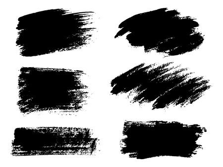 Ilustración de Painted grunge stripes set. Black labels, background, paint text - Imagen libre de derechos