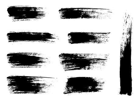 Ilustración de Painted grunge stripes set. Black labels, background, paint texture. Brush strokes vector. Handmade design elements - Imagen libre de derechos