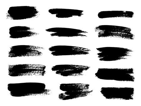 Ilustración de Painted grunge stripes set. Black labels, background, paint texture. Brush strokes vector. Handmade design elements. Vector illustration - Imagen libre de derechos