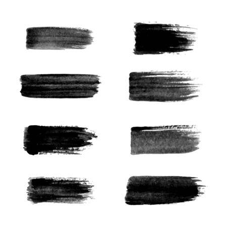Ilustración de Painted grunge stripes set. Black labels, background, paint texture. Brush strokes vector. - Imagen libre de derechos