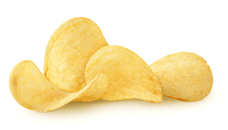 Photo pour Delicious potato chips isolated on white background - image libre de droit