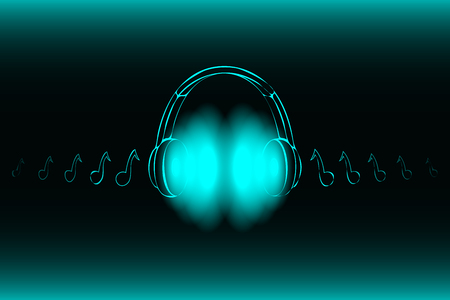Illustrazione per Bright glowing neon headphones isolated on blue background, music concept. Banner. Low poly illustration.Modified form. - Immagini Royalty Free