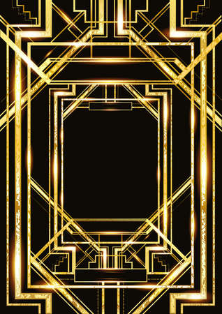 Ilustración de vector retro pattern for vintage party style, Art Deco geometric gold pattern - Imagen libre de derechos
