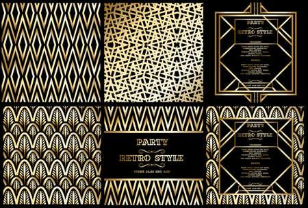 Ilustración de vector retro pattern for vintage party Gatsby style, Art Deco geometric gold pattern - Imagen libre de derechos