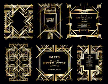 Illustration for vector retro pattern for vintage party Gatsby style, Art Deco geometric gold pattern - Royalty Free Image