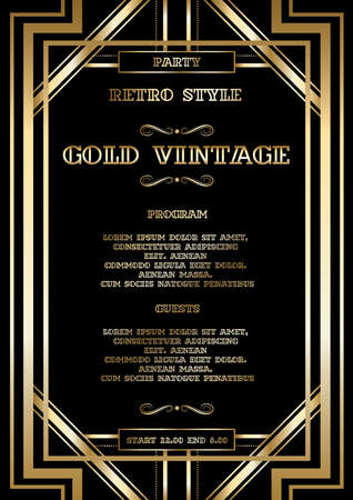Ilustración de vector retro pattern for vintage party Gatsby style, Art Deco geometric gold pattern - Imagen libre de derechos
