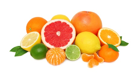 Photo for Pile from different citrus fruits isolated on white background - Royalty Free Image