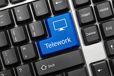 Foto de Close-up view on conceptual keyboard - Telework (blue key) - Imagen libre de derechos