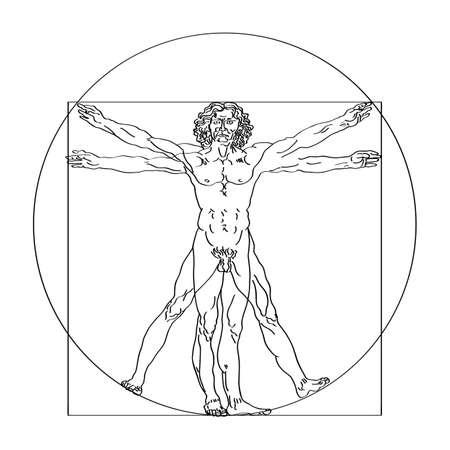 Ilustración de Stylized sketch of the Vitruvian man or Leonardo's man. Homo vitruviano vector illustration based on Leonardo da Vinci artwork - Imagen libre de derechos