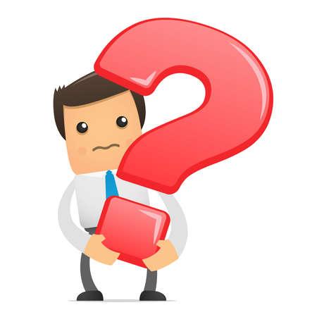 Illustration pour illustration of office worker with a big question - image libre de droit