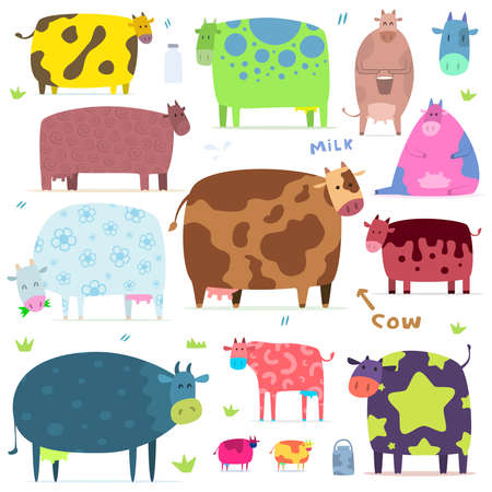 Illustration for set of funny cows - Royalty Free Image