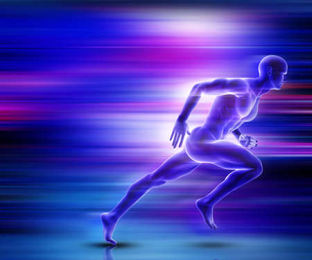 Photo for 3D render of a male figure sprinting with motion effect - Royalty Free Image