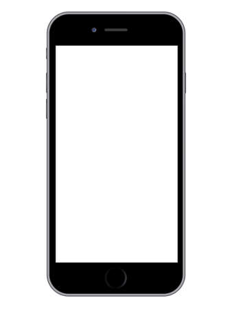 Illustration pour Vector illustration of a modern smartphone with white screen on white background - image libre de droit