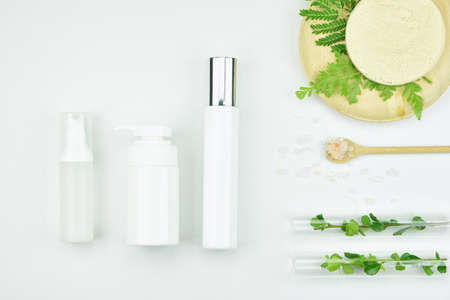 Foto de Cosmetic bottle containers with green herbal leaves, Blank label package for branding mock-up, Natural organic beauty product concept. - Imagen libre de derechos
