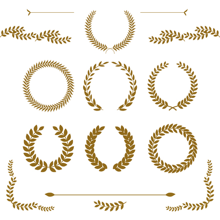 Illustration pour Set of gold award laurel wreaths and branches on white background, vector illustration - image libre de droit