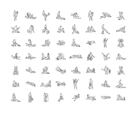 Illustrazione per Kama sutra sexual pose. Sex poses illustration of man and woman on white background - Immagini Royalty Free
