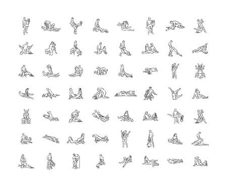 Ilustración de Kama sutra sexual pose. Sex poses illustration of man and woman on white background - Imagen libre de derechos