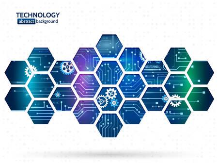Ilustración de Abstract technology background with hexagons and gear wheels. Hi-tech circuit board vector illustration - Imagen libre de derechos