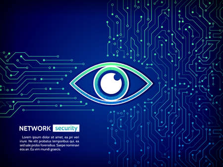 Illustration pour Abstract high tech circuit board. Eye cyber security concept. Network data protection background. Search and analysis of information. - image libre de droit