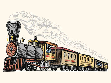 Illustration pour engraved vintage, hand drawn, old locomotive or train with steam on american railway. retro transport. - image libre de droit
