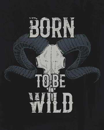 Ilustración de Born to be wild lettering in black illustration. - Imagen libre de derechos