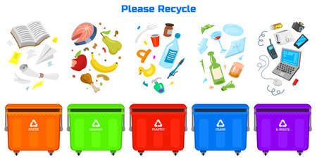 Illustration for Recycling garbage elements. Bag or containers or cans for different trashes. - Royalty Free Image