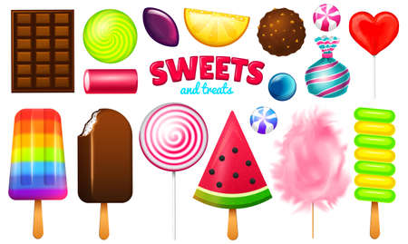 Ilustración de Realistic Sweet candies set. Swirl caramel, assorted circle lollipops, dragee and chocolates, fruit jelly, Sugar clouds, cotton and watermelon. 3d vector illustration. holiday colors in modern style. - Imagen libre de derechos