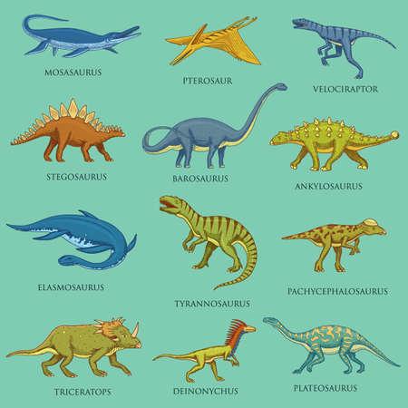 Illustration pour Dinosaurs set, jurassic animals. Prehistoric reptiles, Engraved hand drawn vintage sketch. pictograms collection. Tyrannosaurus rex, Triceratops, Brontosaurus, Velociraptor, Triceratops, Stegosaurus. - image libre de droit