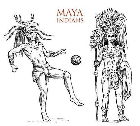 Illustration for Maya Vintage style. Aztec culture. Portrait of a man, traditional costume and decoration on the head. Native tribe, Ancient Monochrome Mexico. engraved hand drawn old sketch. warrior for label - Royalty Free Image