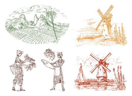 Illustration for Cocoa or coffee plantation. Vintage farm and landscape with mountains, women harvest, windmill for label logo badge. Engraved hand drawn sketch. vector illustration. - Royalty Free Image