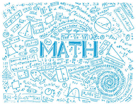 Illustrazione per Scientific formulas and calculations in physics and mathematics on whiteboard. The lesson of algebra and geometry in school. Education and Science. engraved hand drawn in old sketch and vintage style - Immagini Royalty Free