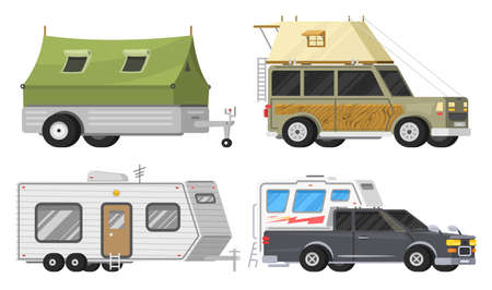Illustration pour Trailers or family RV camping caravan. Tourist bus and tent for outdoor recreation and travel. Mobile home truck. Suv Car Crossover. Tourist transport, road trip, recreational vehicles. - image libre de droit
