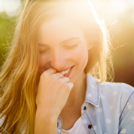 Portrait of charming smiling girl