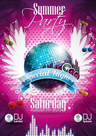 Summer Beach Party Flyer Design with disco ball and wings on pink background.