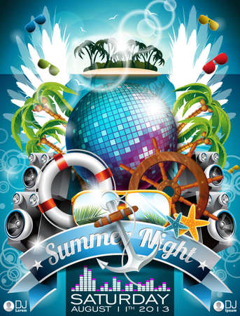 Summer Beach Party Flyer Design with disco ball and shipping elements on tropical background