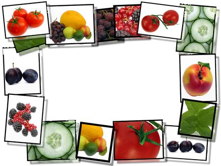 Healthy food concept, film plates with fresh food images frame on white background