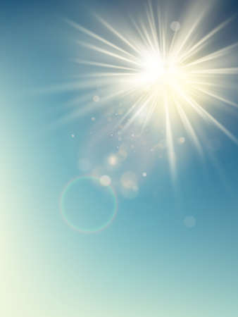 Illustration pour Summer template warm spring sun rays burst with lens flare. - image libre de droit